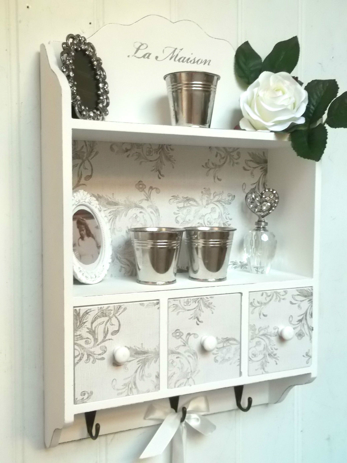 shabby chic wall unit shelf storage cupboard cabinet hooks french vintage style amazing grace. Black Bedroom Furniture Sets. Home Design Ideas