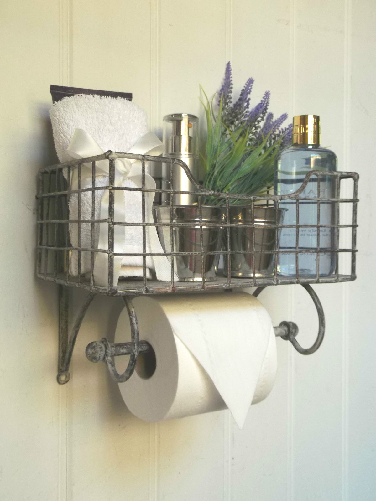 Shabby Chic Vintage Basket Toilet Roll Holder Amazing