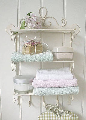 Shabby chic metal wall shelf with hooks amazing grace for Shabby chic bathroom accessories uk