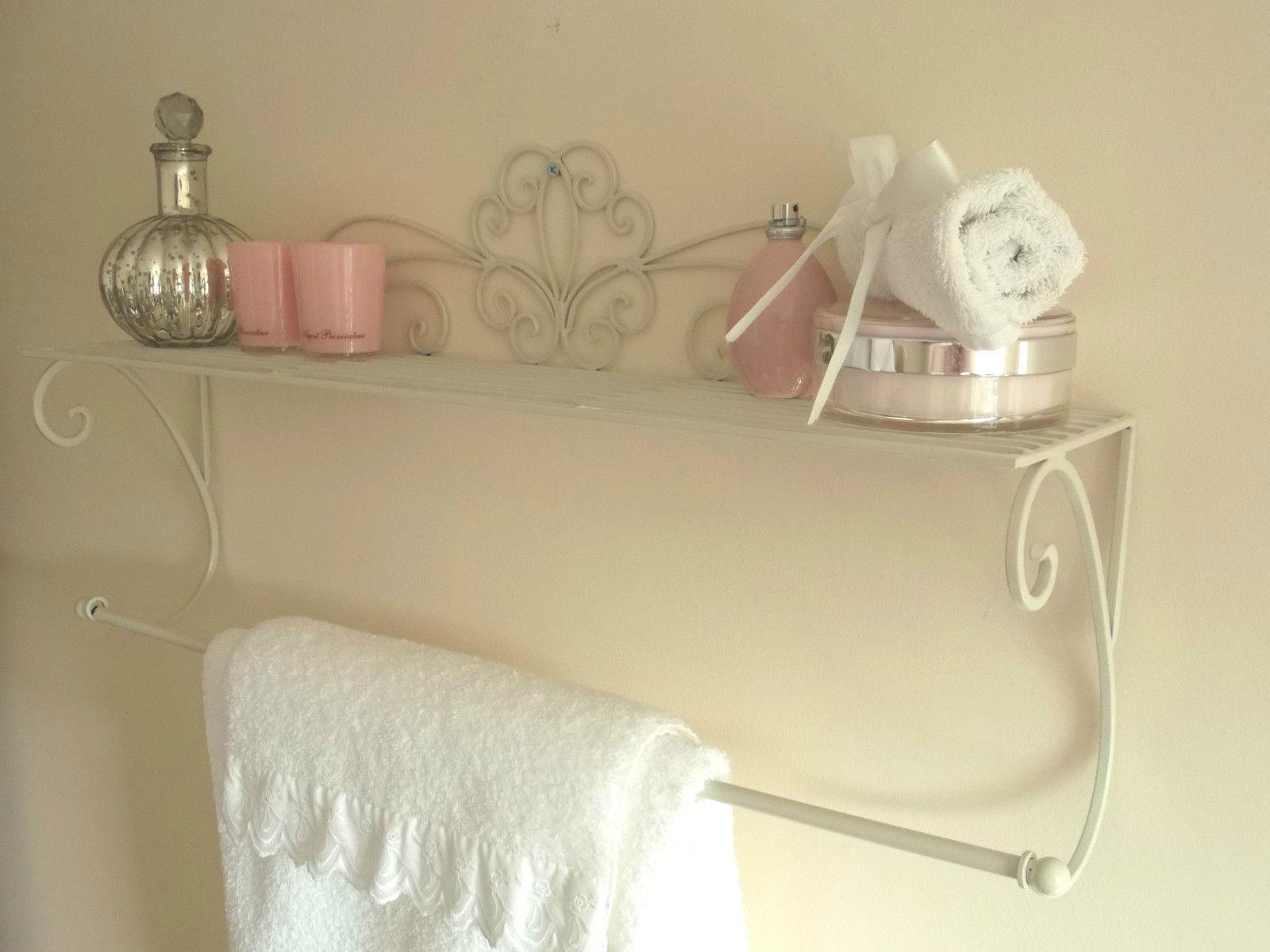 cream wall mounted towel rail shelf amazing grace. Black Bedroom Furniture Sets. Home Design Ideas