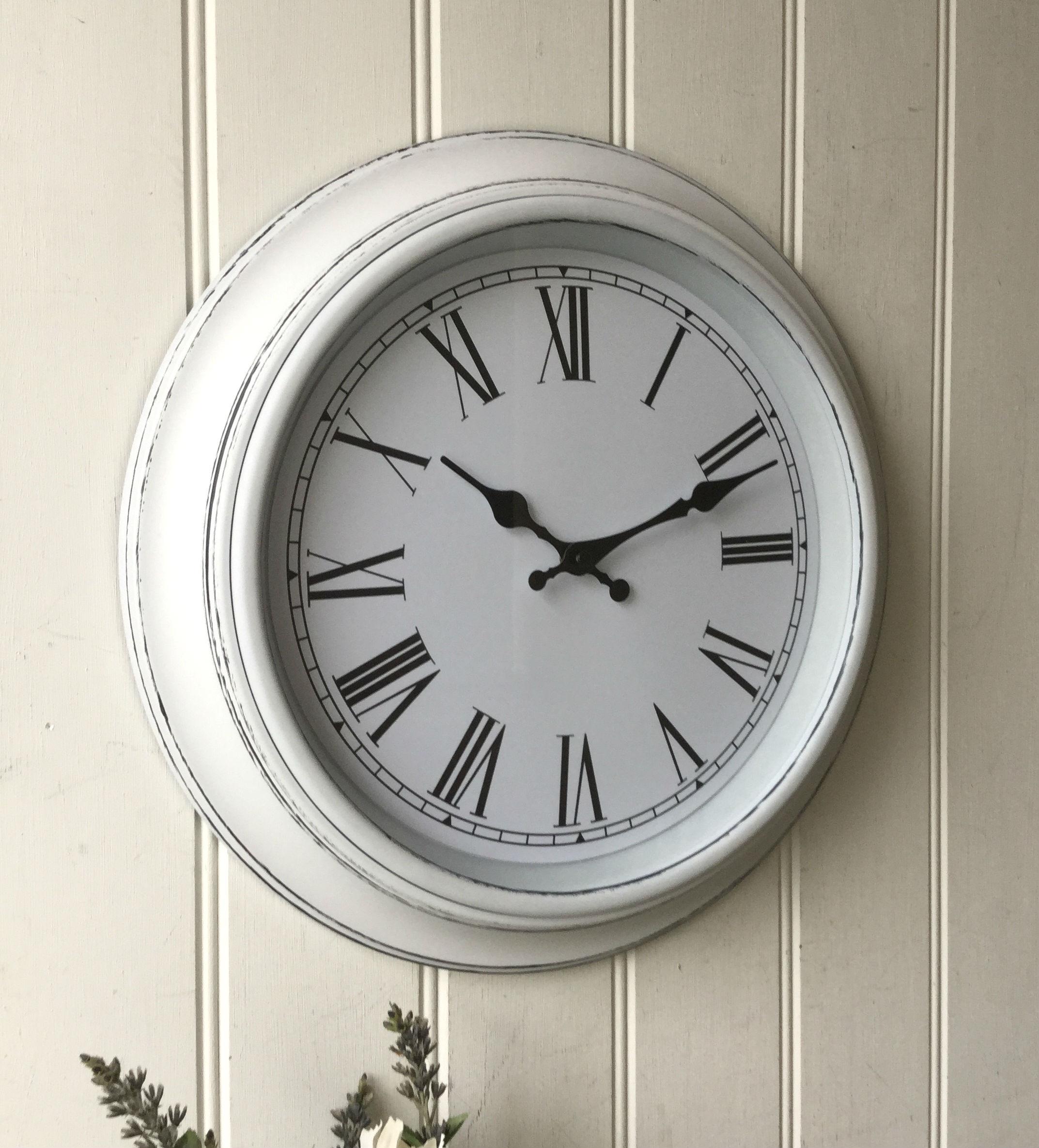 Shabby Chic Large White Wall Clock – Amazing Grace Interiors