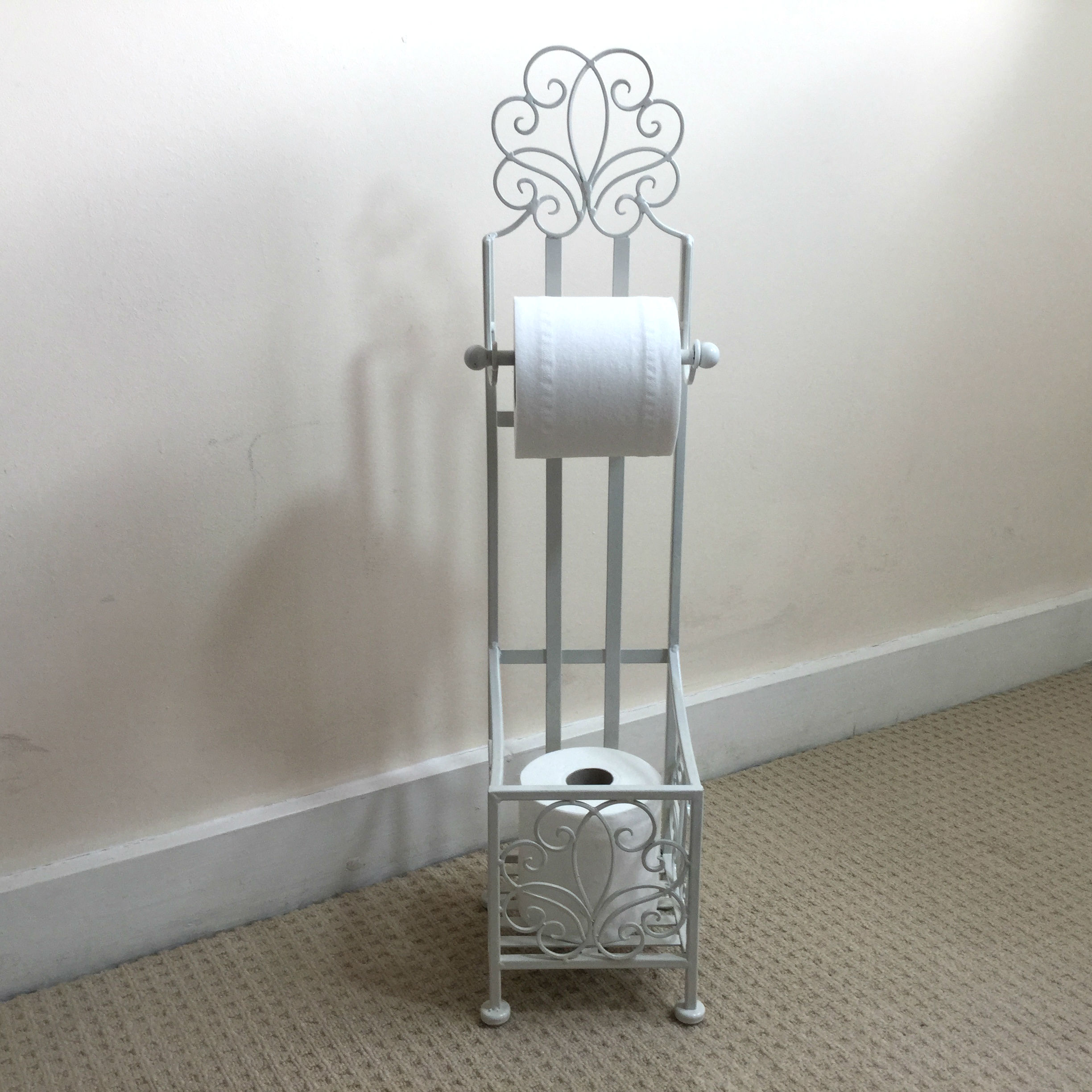 Antique french vintage style cream freestanding toilet Antique toilet roll holders
