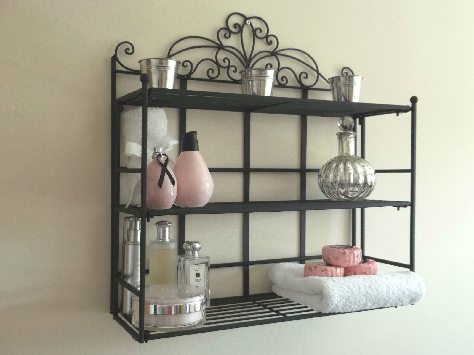 Black metal wall mounted towel rail shelf amazing grace interiors french vintage style black metal wall shelf unit amipublicfo Image collections