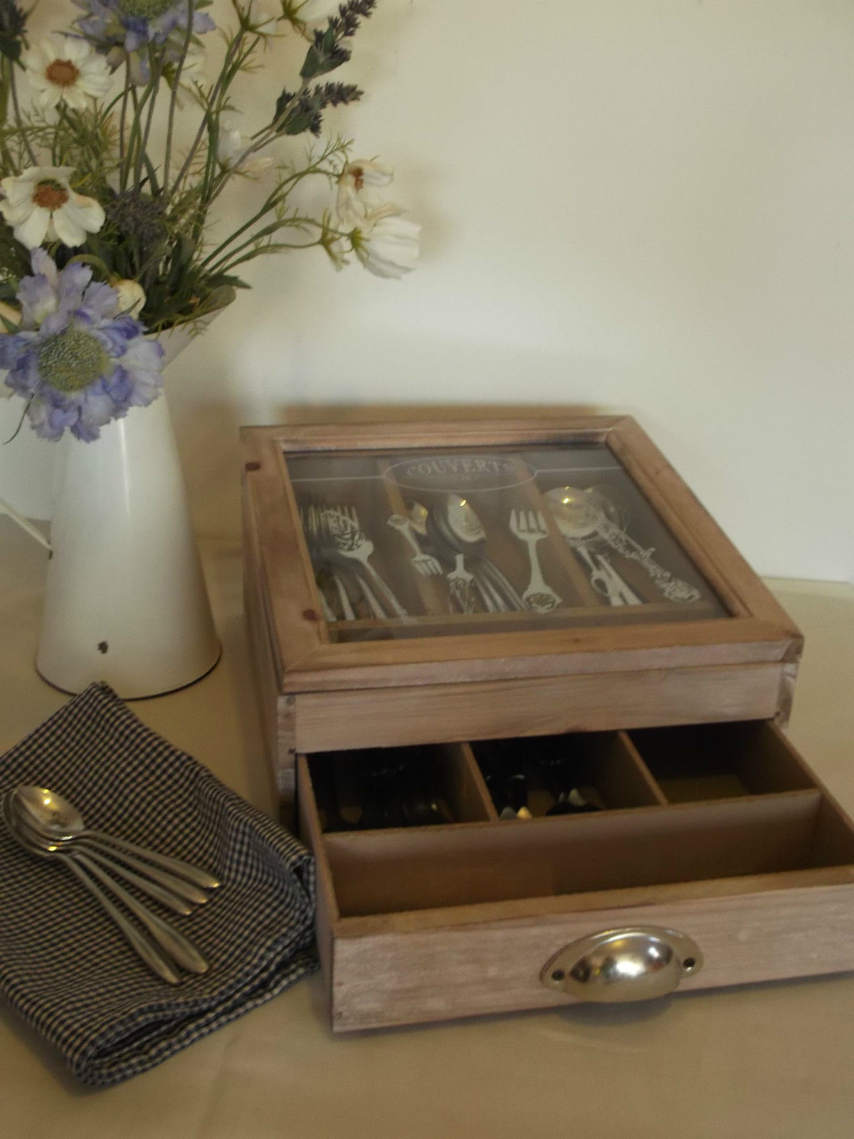 Shabby Chic French Wooden Cutlery Storage Box Amazing