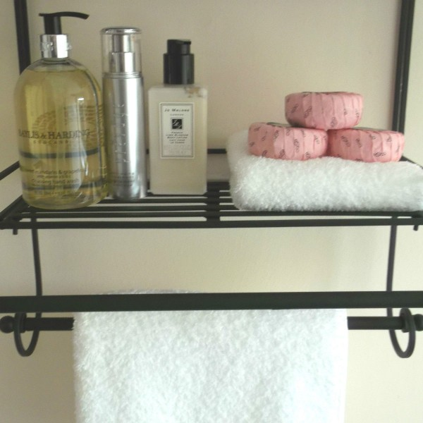 Shabby Chic Black Metal Wall Shelf Towel Rail