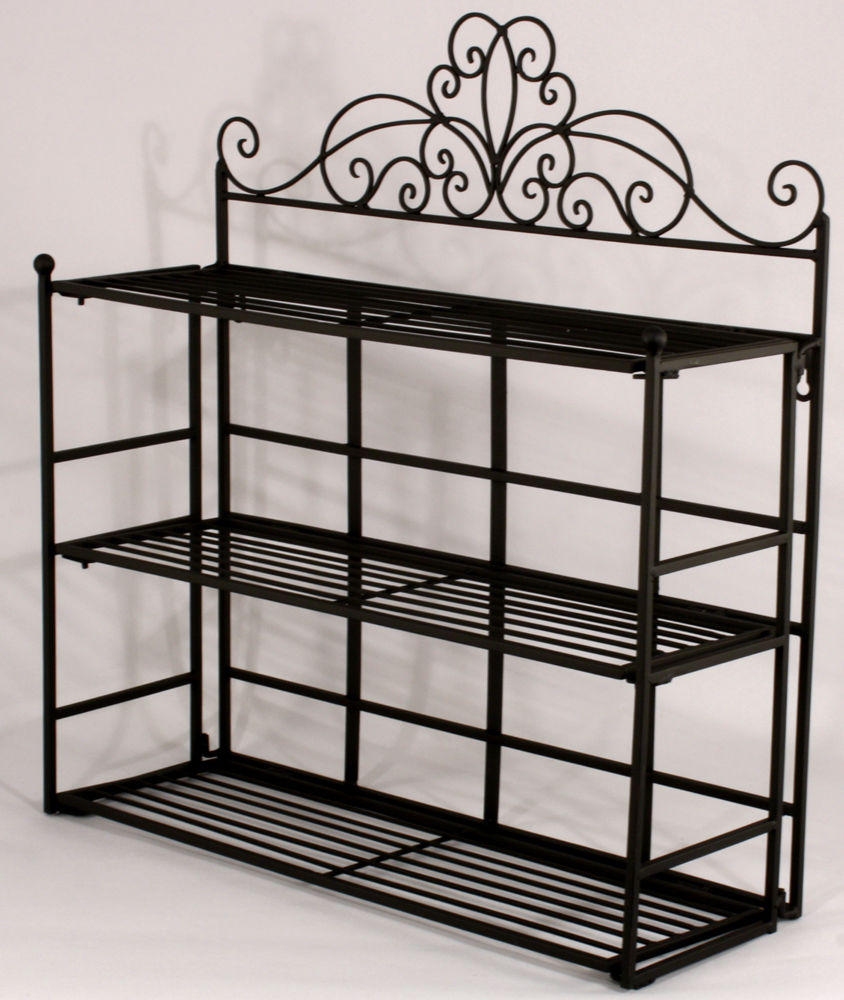 Shabby chic black metal wall shelf storage unit amazing grace interiors - Wall metal shelf ...