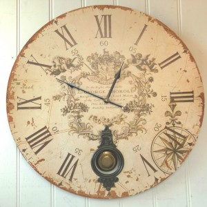 Large French Shabby Chic Wall Clock Amazing Grace Interiors