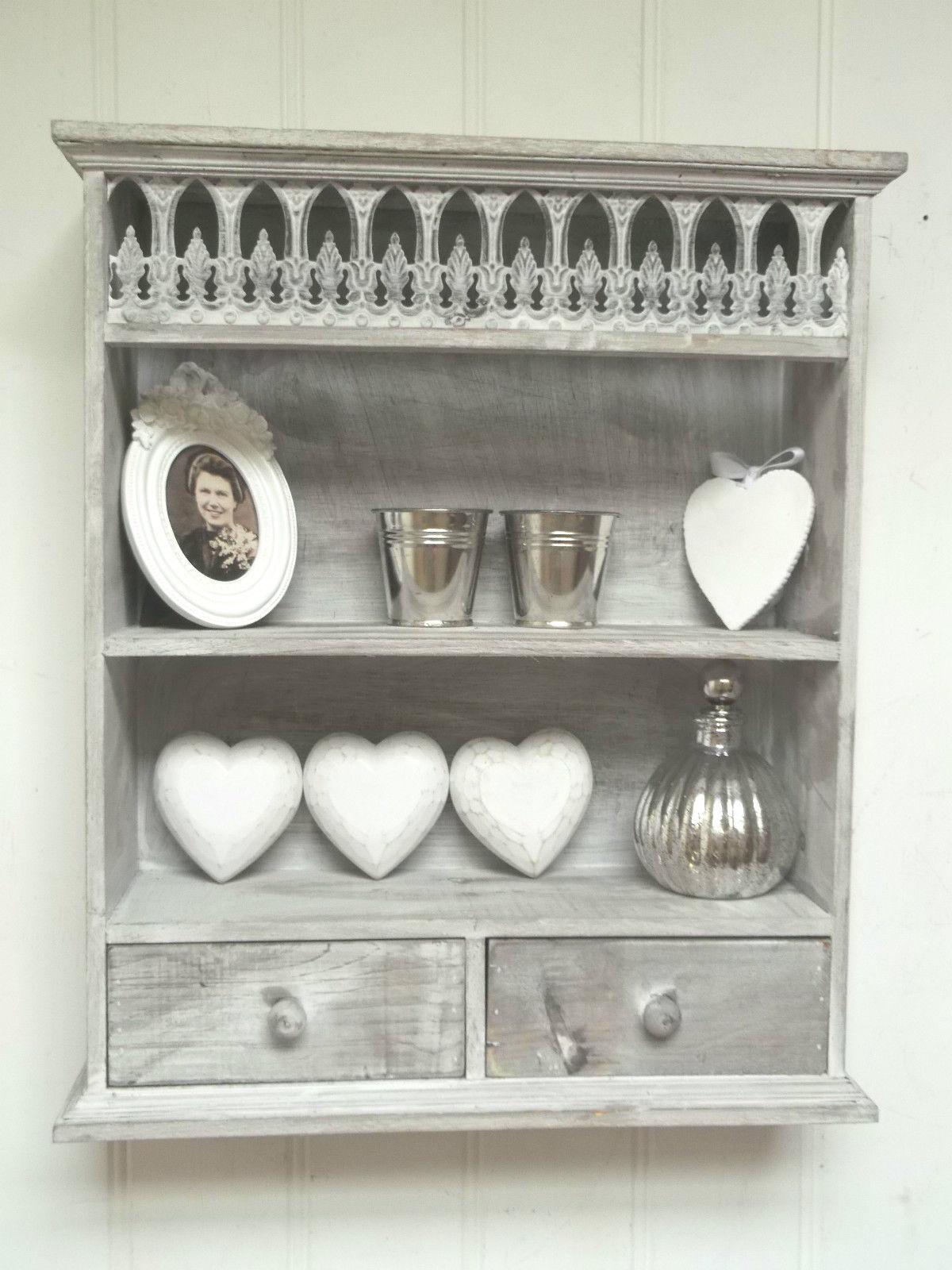 shabby chic wall unit shelf storage cupboard cabinet. Black Bedroom Furniture Sets. Home Design Ideas