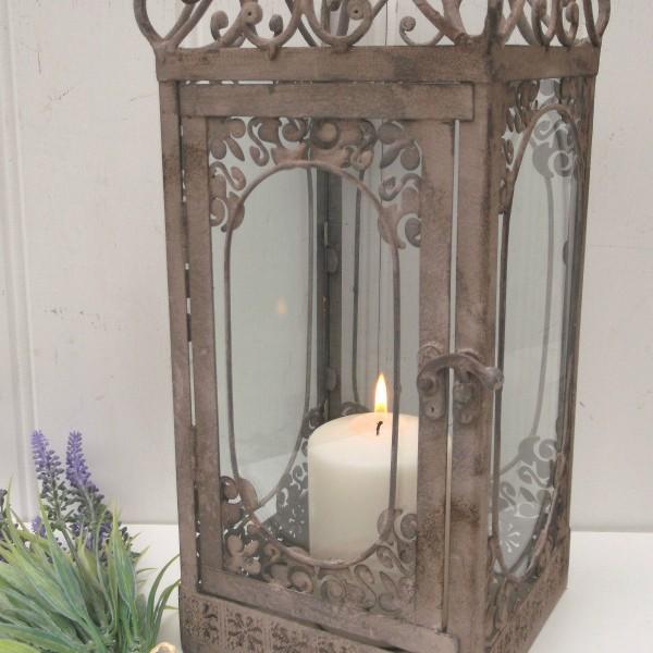 Vintage style french grey large lantern candle holder for Arredamento shabby chic napoli
