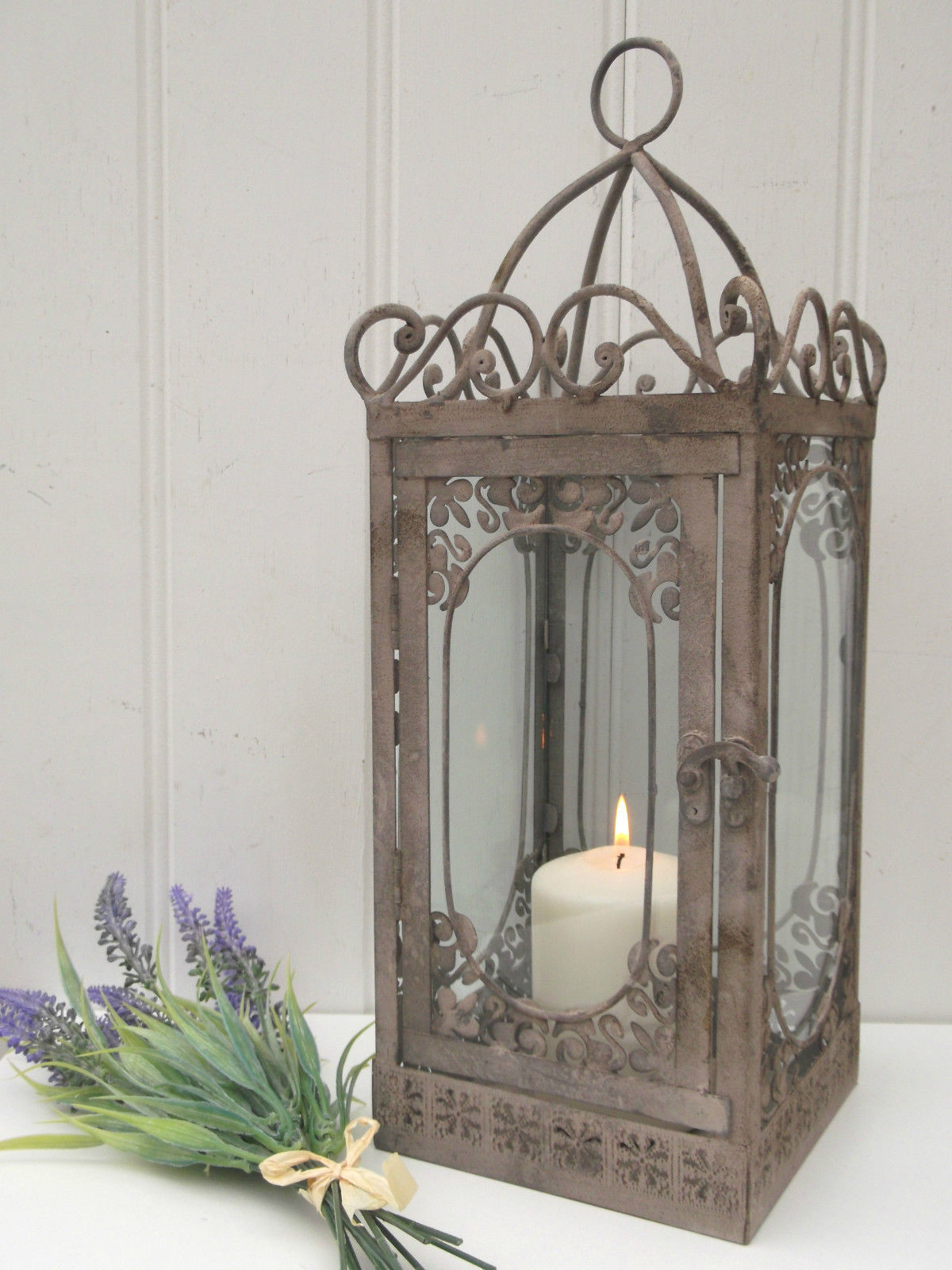 Vintage style french grey large lantern candle holder for Rustic chic home decor