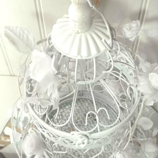 Decorative round white metal birdcage wedding table