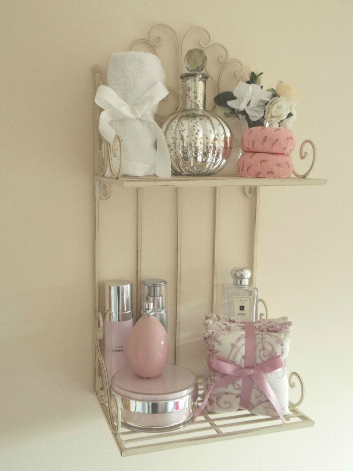 Antique french vintage style wall shelf unit storage cabinet shabby chic metal wall shelf unit storage display bathroom kitchen vintage style amipublicfo Image collections