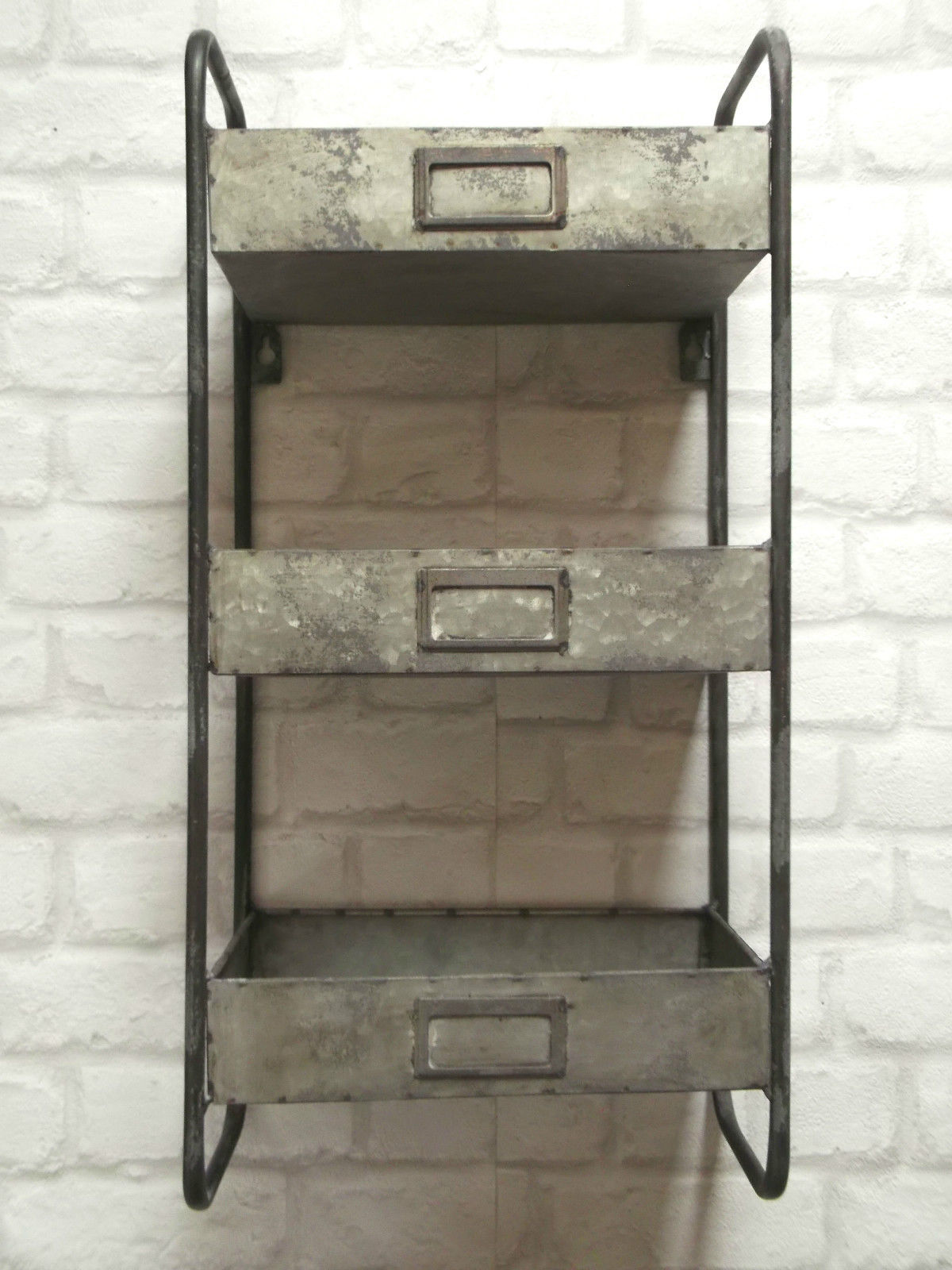 Vintage Industrial Style Metal Wall Shelf Unit Storage