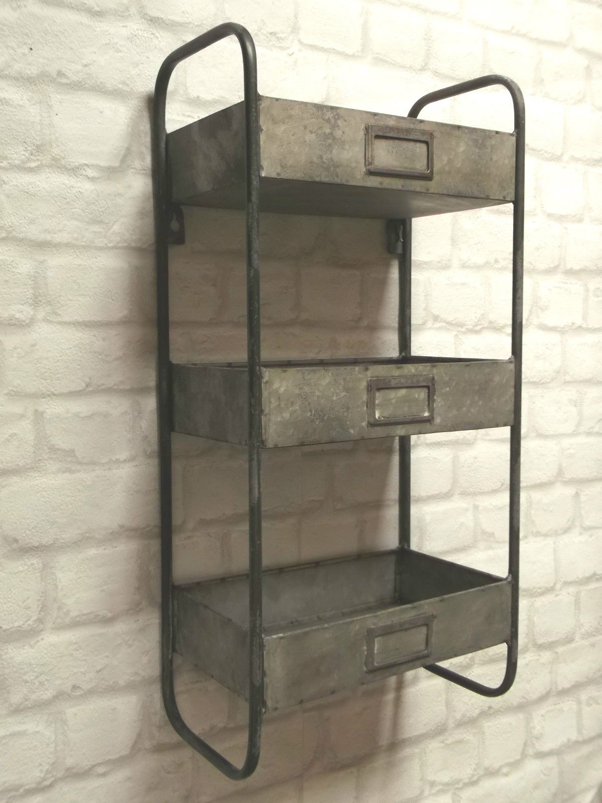 Unusual Clocks Vintage Industrial Style Metal Wall Shelf Unit Storage