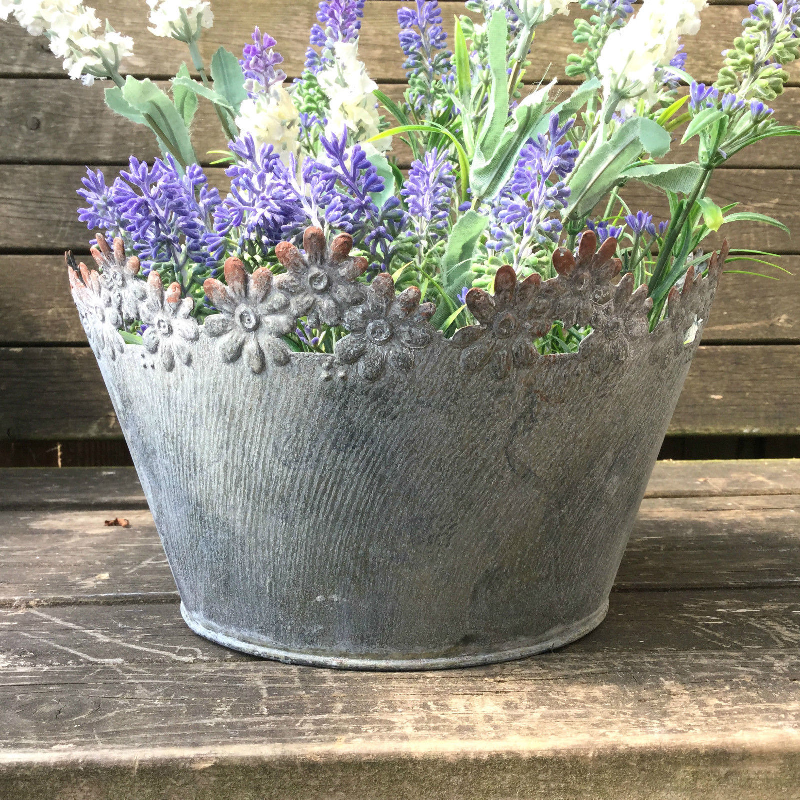 vintage style french grey set of 2 round metal garden planters