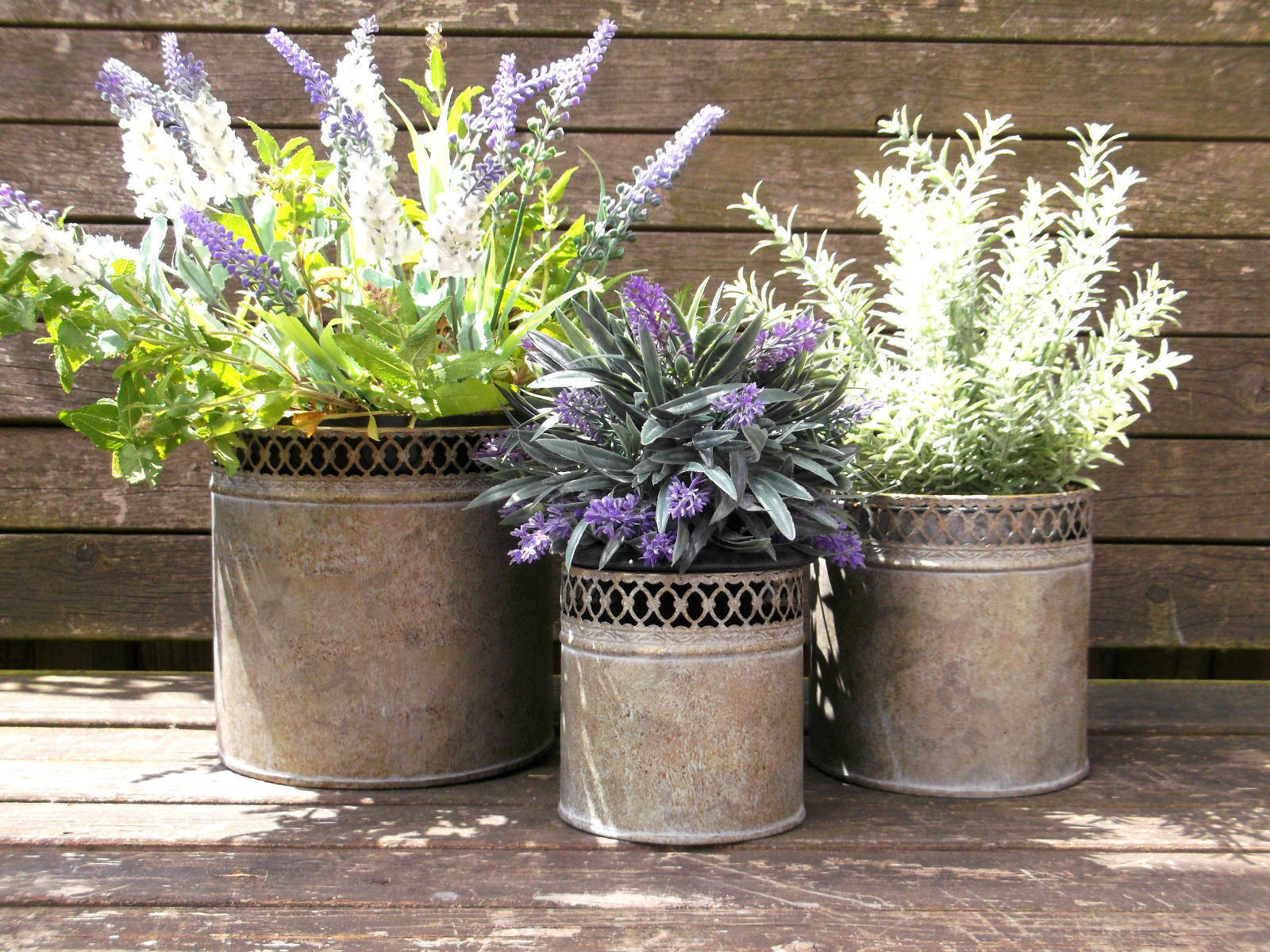 french vintage style set of 3 metal garden planters