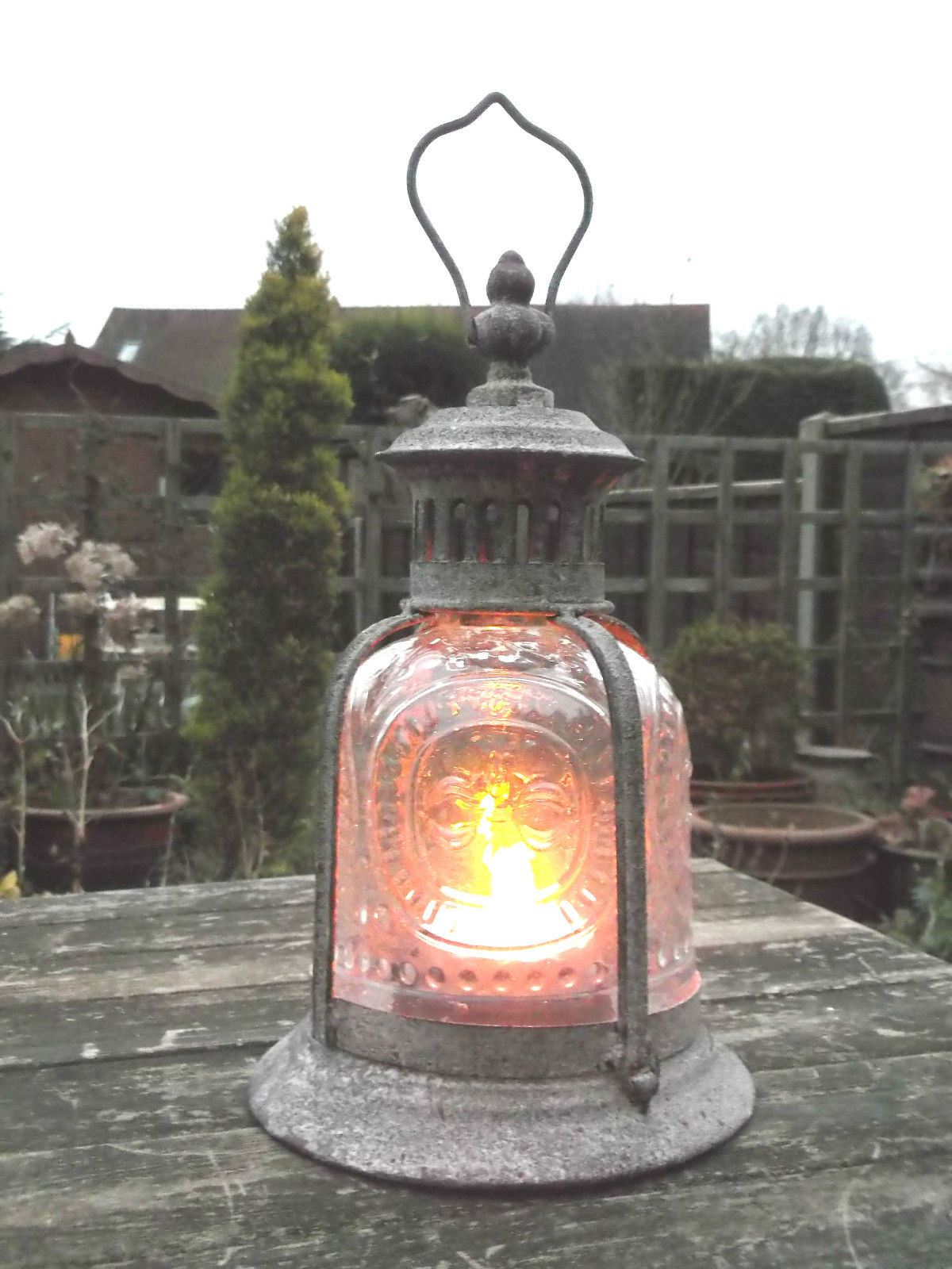 Antique French Vintage Style Large Garden Lantern Candle