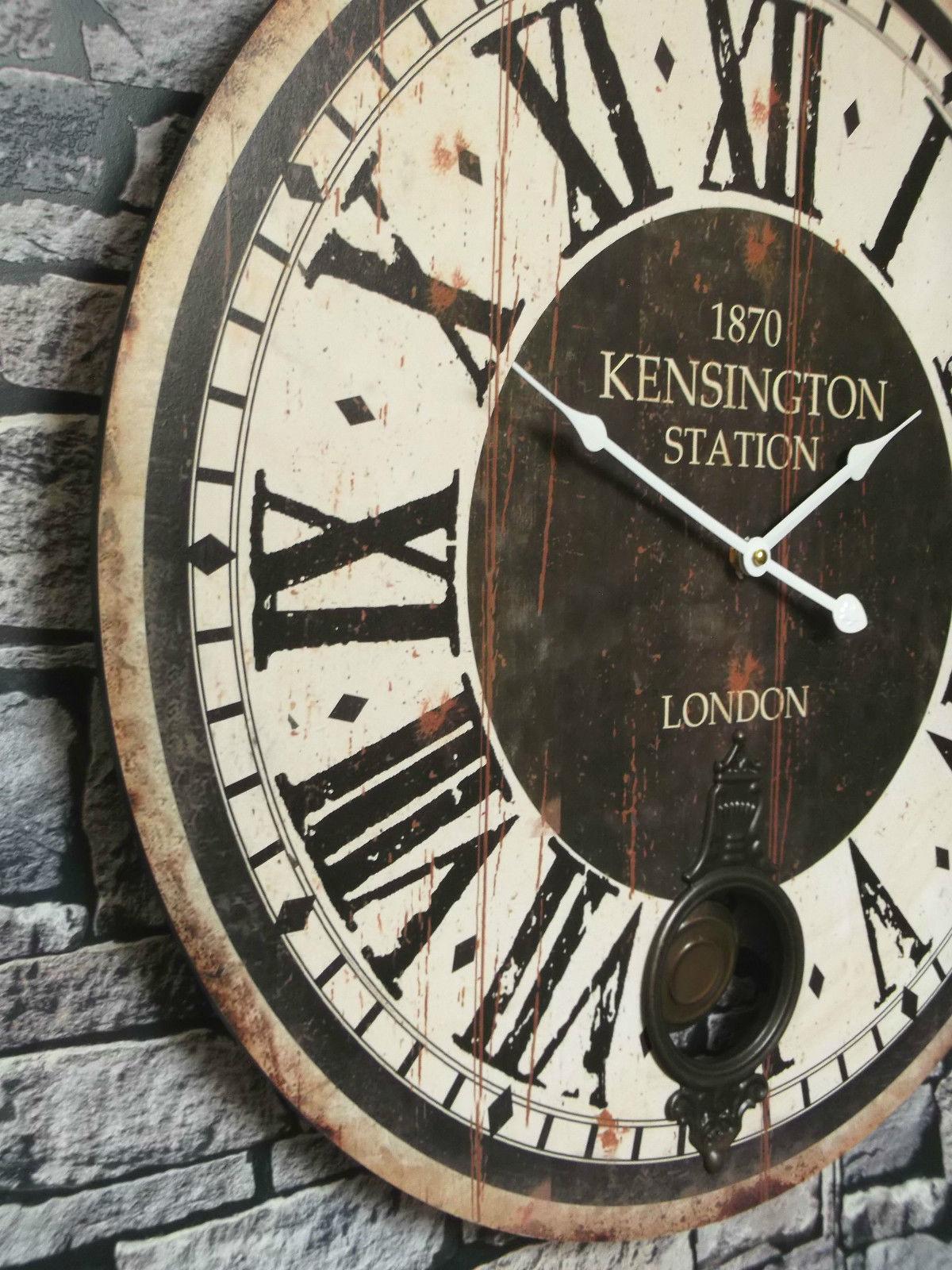 Extra large 60cm antique vintage style wall clock shabby chic pendulum clock amazing grace - Extra large wall clocks uk ...