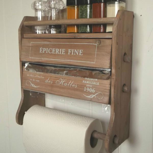 Shabby Chic French Kitchen Roll Dispenser Cling Film Tin