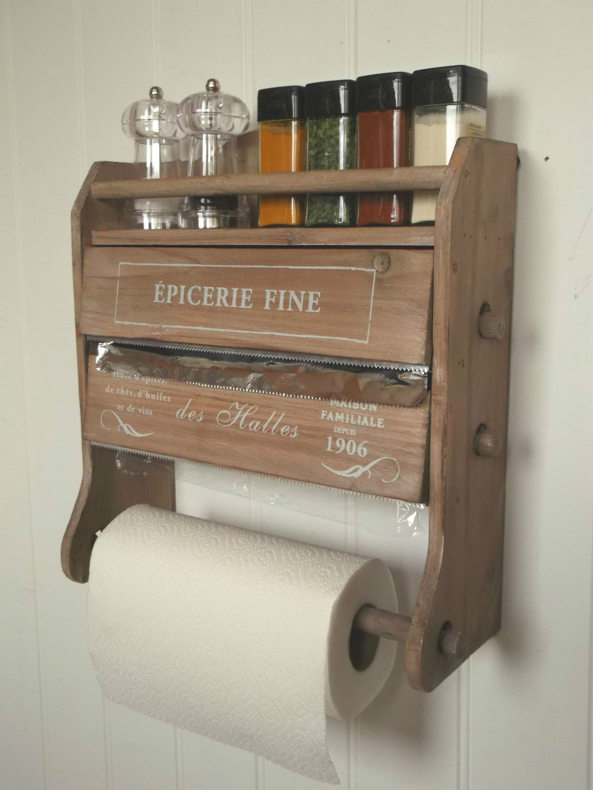 Attractive Shabby Chic French Kitchen Roll Dispenser Cling Film Tin Foil