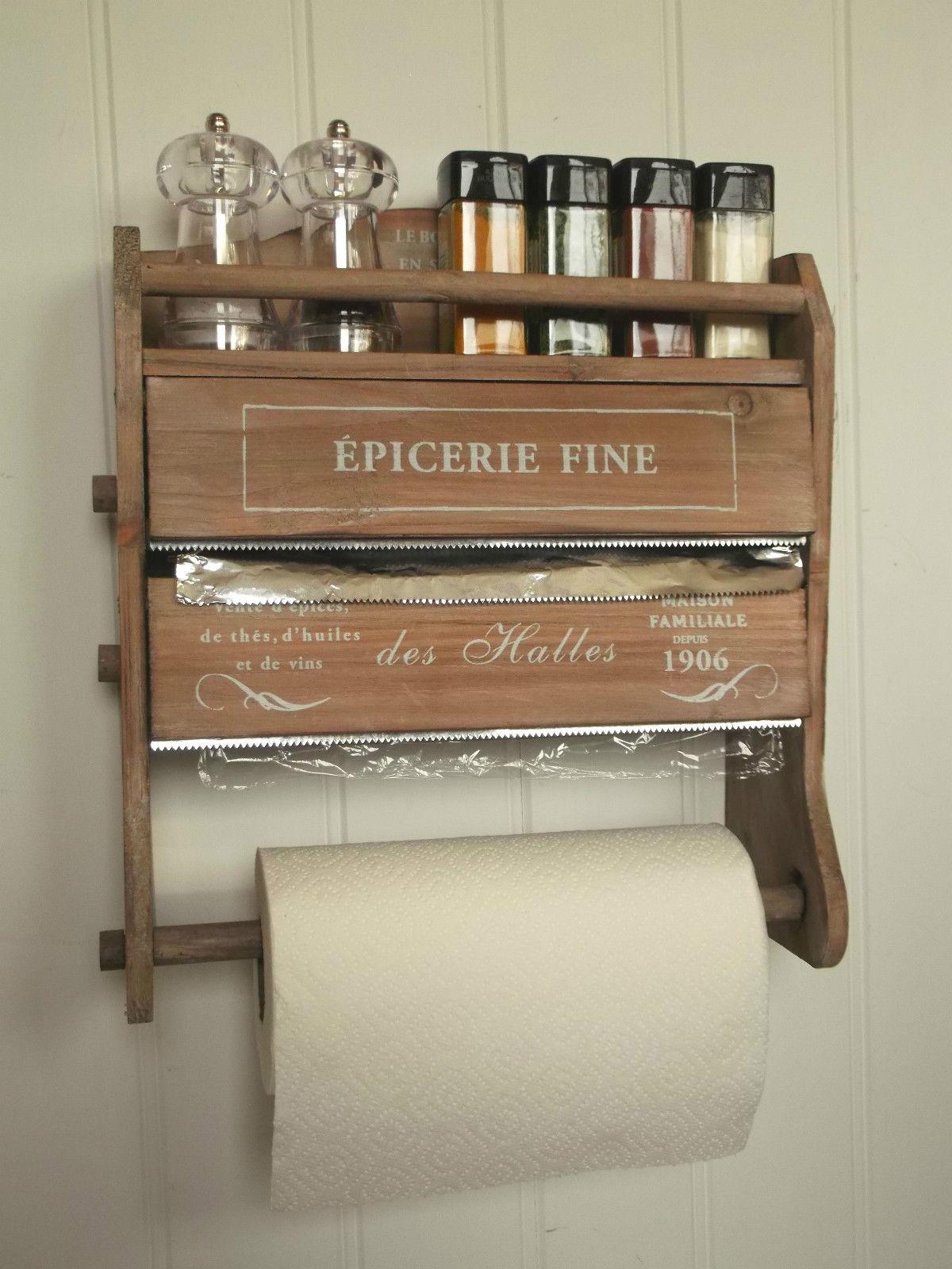 Shabby Chic French Kitchen Roll Dispenser Cling Film Tin Foil