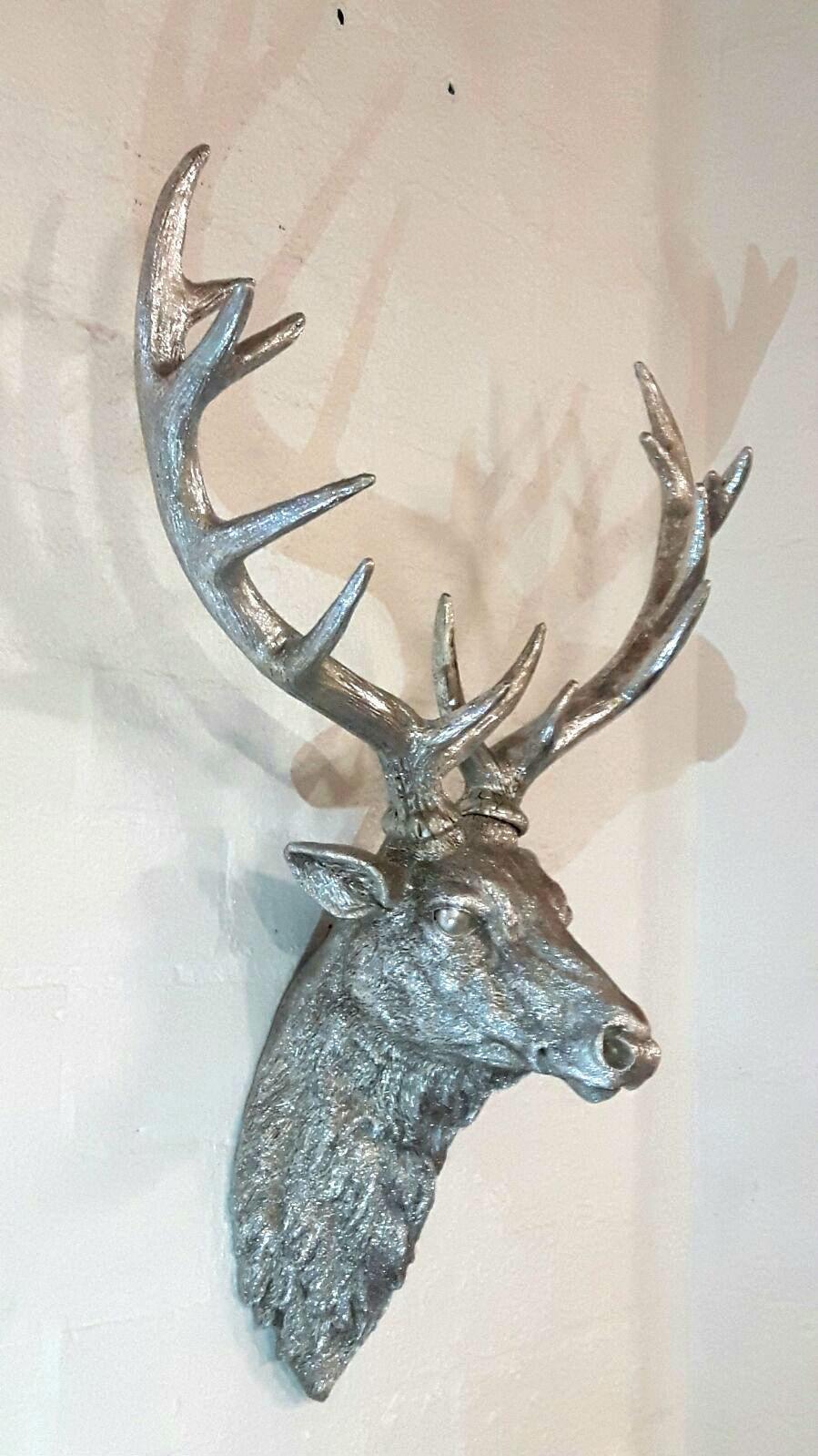 Silver Deer Antlers Wall Decor : Large silver wall mounted stags head deer antlers
