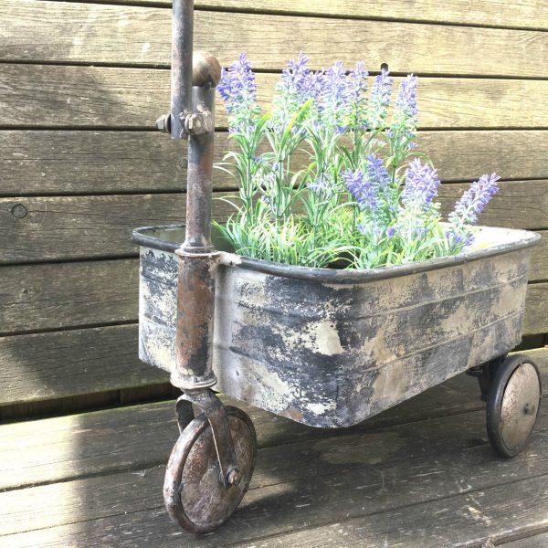 Antique Vintage Style Metal Garden Cart Trolley Plant Stand Garden Patio Planter Amazing Grace