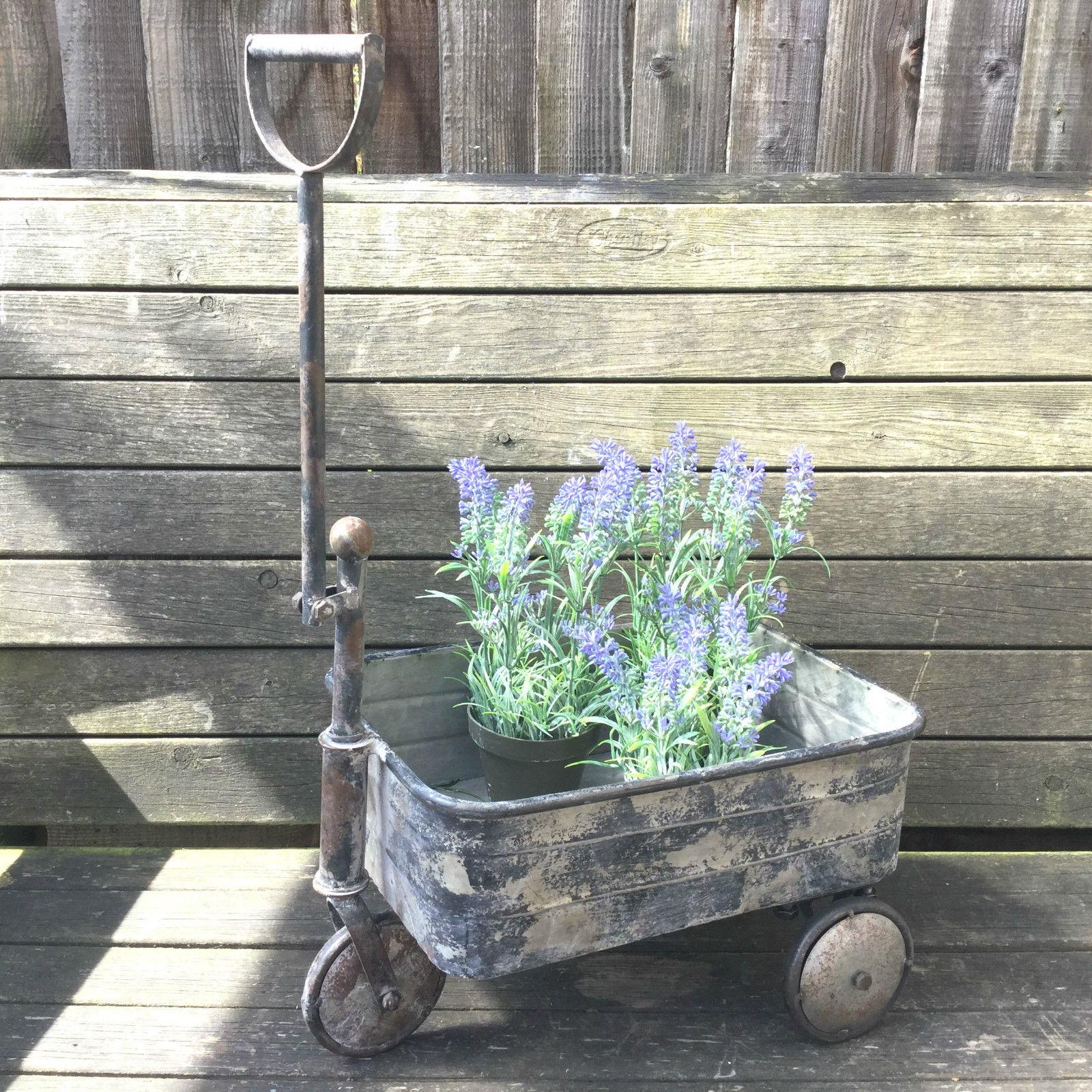 Antique vintage style metal garden cart trolley plant for Garden decking ornaments