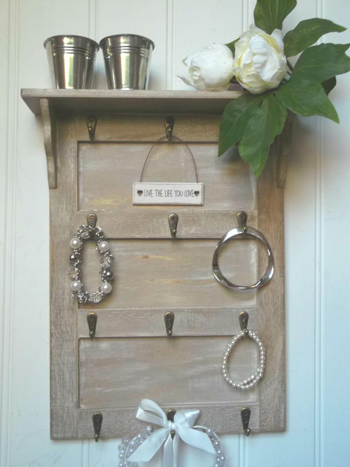 Shabby Chic Wall Mounted Key Hooks Holder Rack Jewellery
