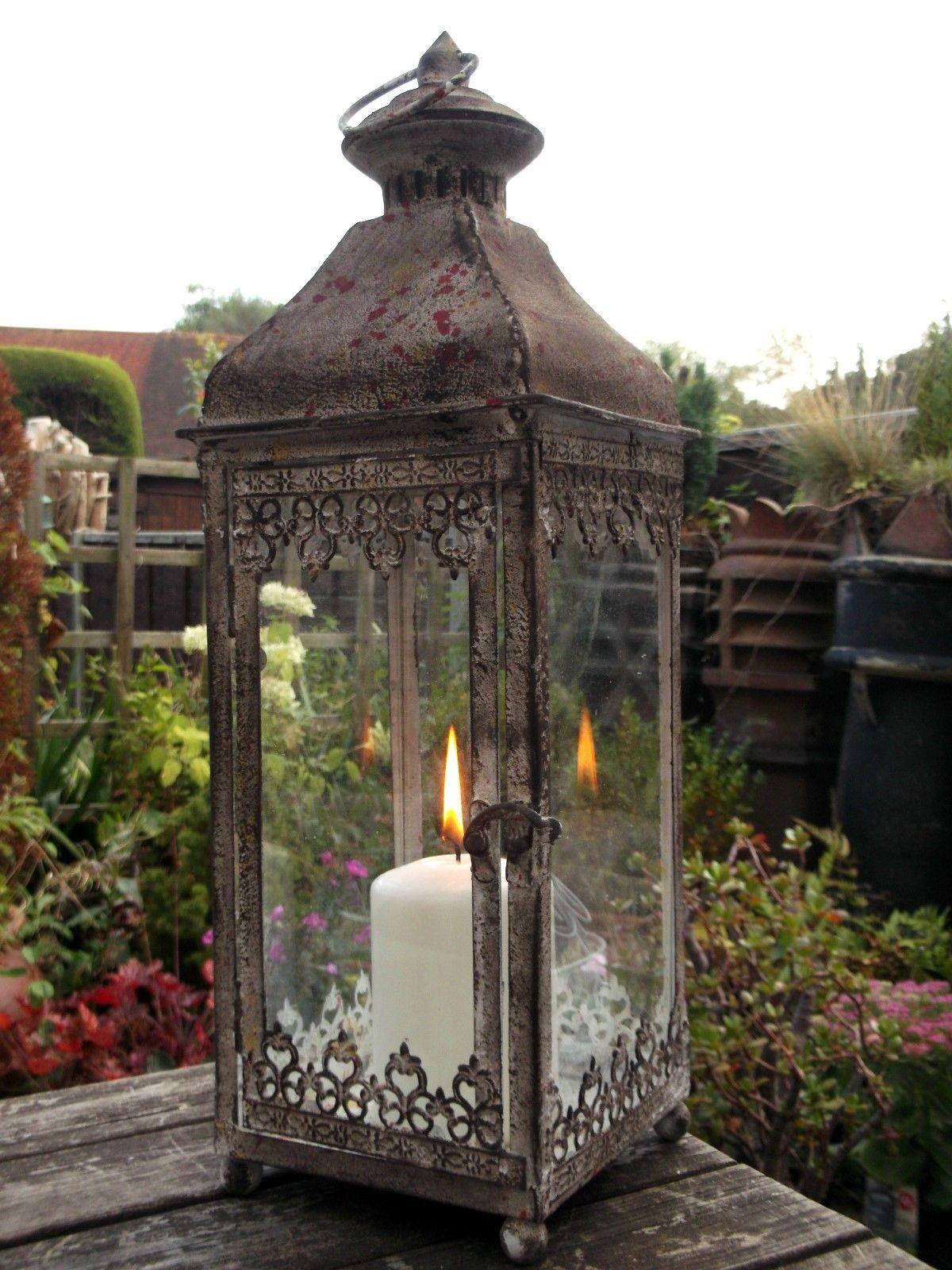 Antique Vintage Style Large Metal Lantern Candle Holder Garden Or Home Rustic