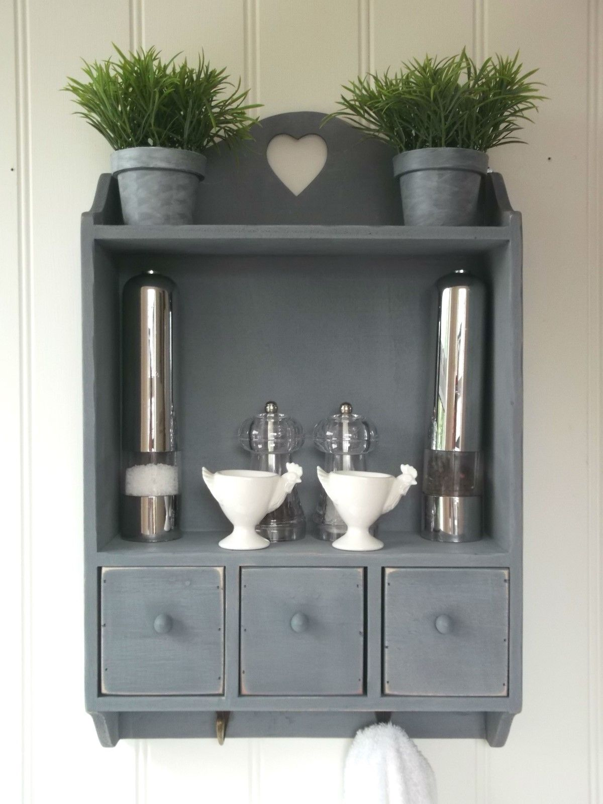 Shabby chic wall unit shelf storage cupboard cabinet for Kitchen cupboard wall unit
