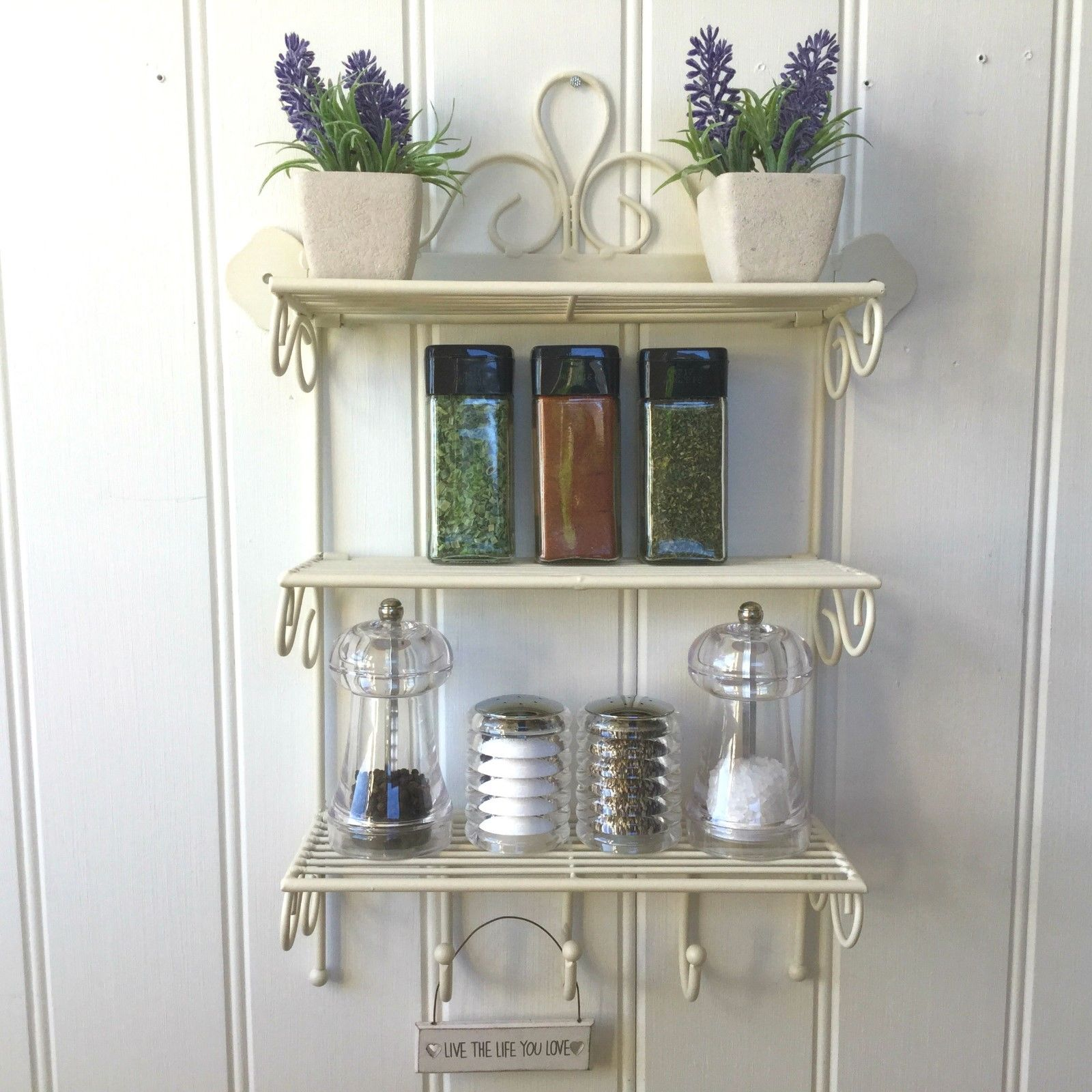 Shabby Chic Metal Wall Shelf Unit Hooks Storage Kitchen