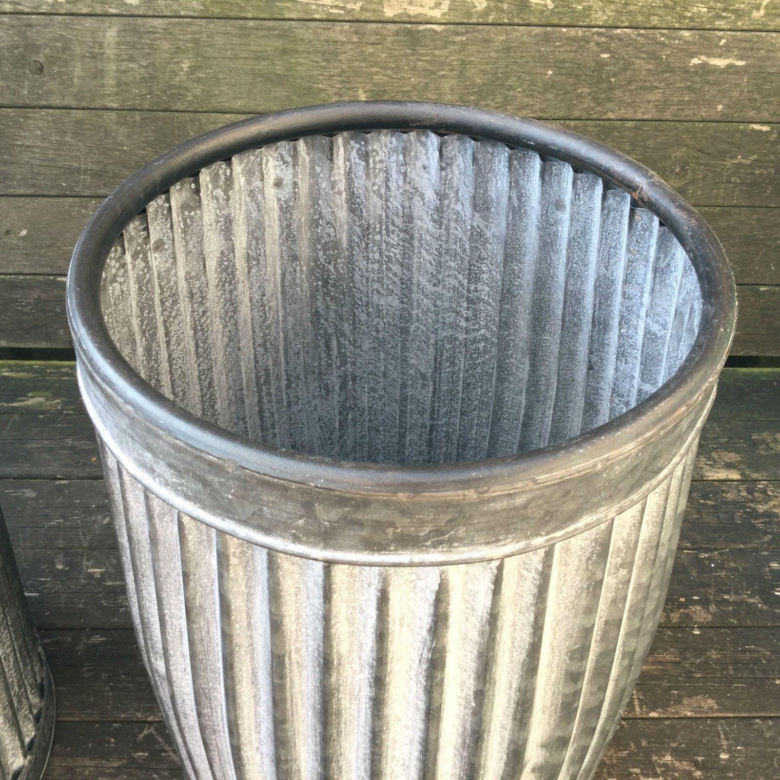 Vintage Style Grey Zinc Galvanised Metal Garden Planter
