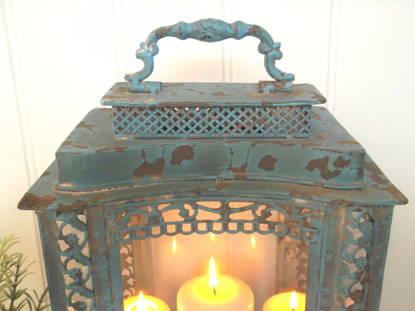 Large French Vintage Style Lantern Candle Holder Shabby Chic Antique Country Amazing Grace