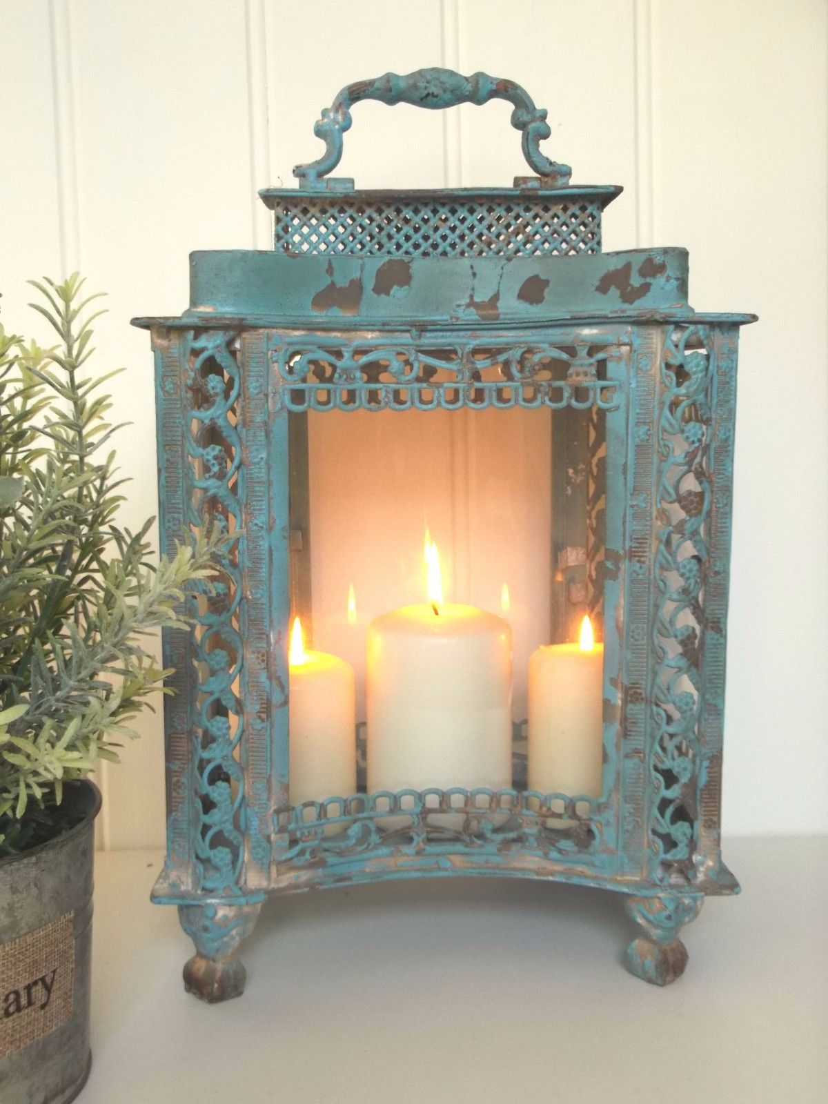 Large french vintage style lantern candle holder shabby for Home decor and gifts