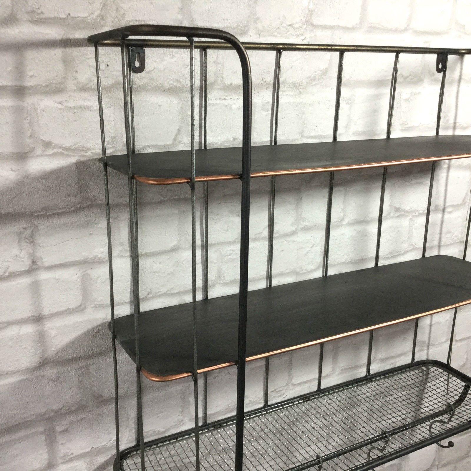Vintage Industrial Style Metal Wall Shelf Unit Rack Coat