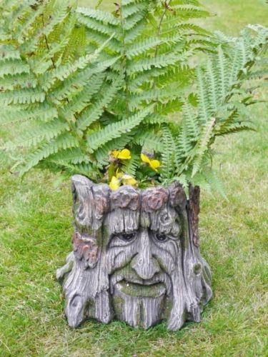 Garden Planter Tree Stump Green Man Of The Forest Flower