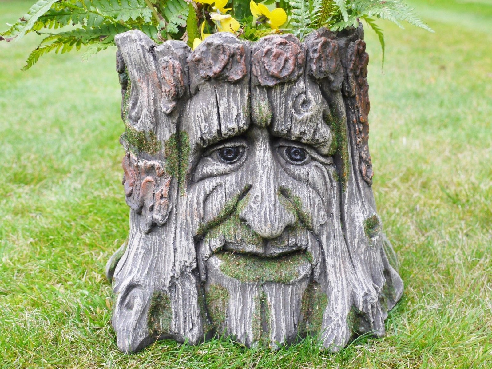 Garden planter tree stump green man of the forest flower for Flower garden ornaments