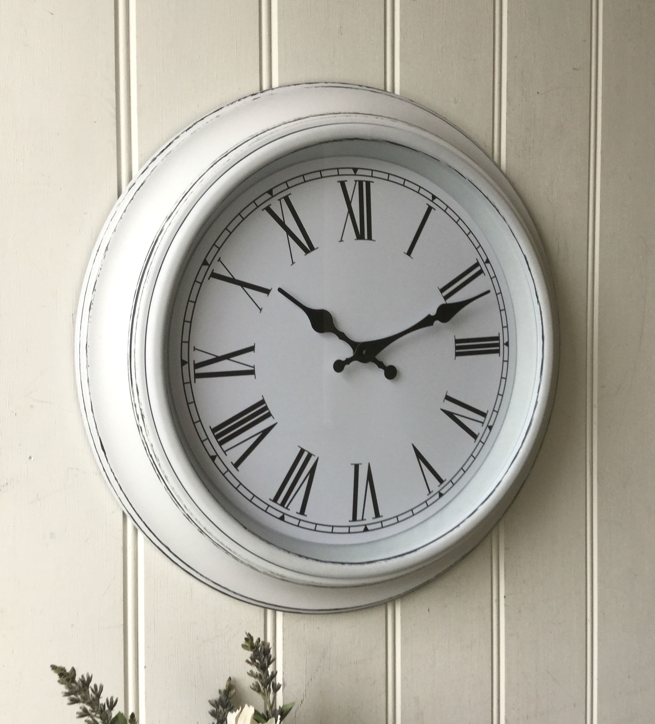 shabby chic large white wall clock  u2013 amazing grace interiors