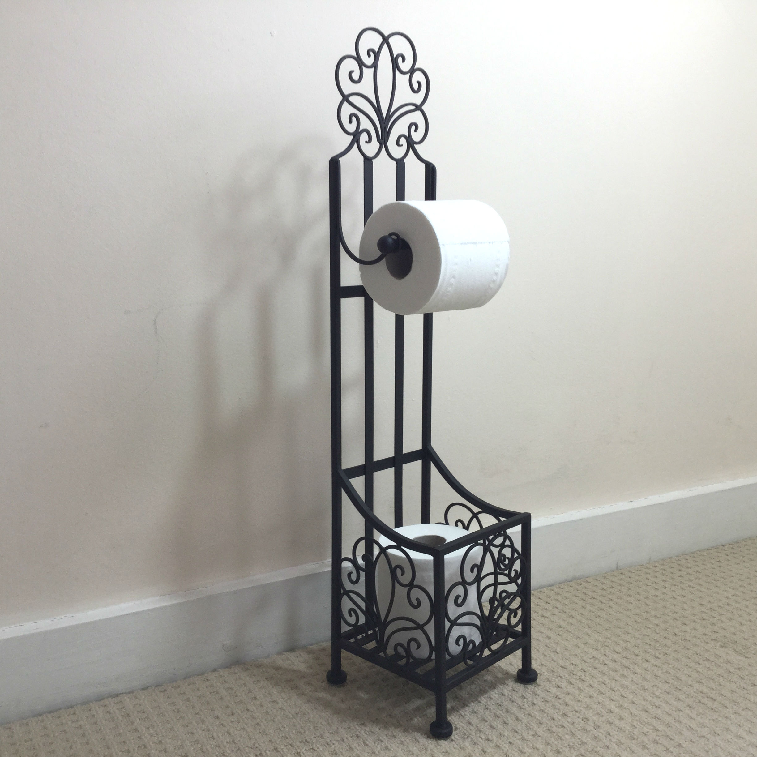 French Vintage Style Black Free Standing Toilet Roll Holder