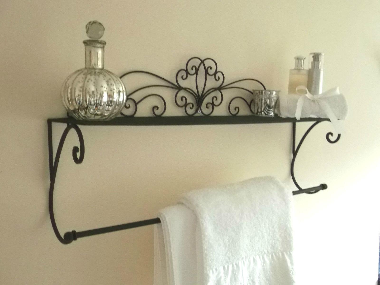 Black Metal Wall Mounted Towel Rail & Shelf