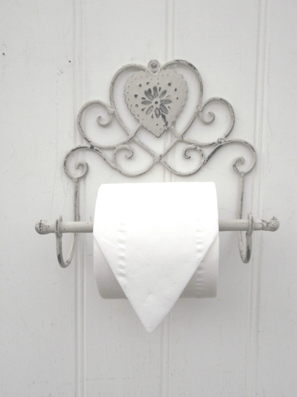 Shabby Chic Heart French Vintage Grey Wall Mounted Toilet Roll ...