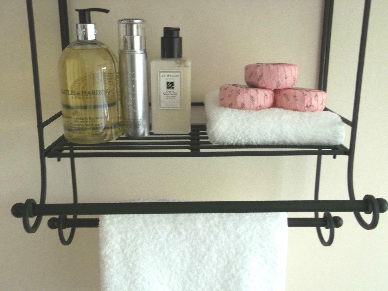 Shabby Chic Black Metal Wall Shelf Towel Rail Amazing