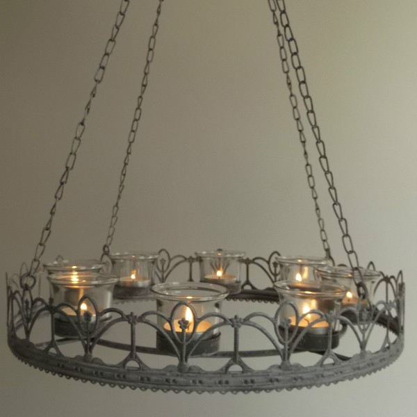 Vintage French Style Hanging Tea Light Chandelier Amazing Grace