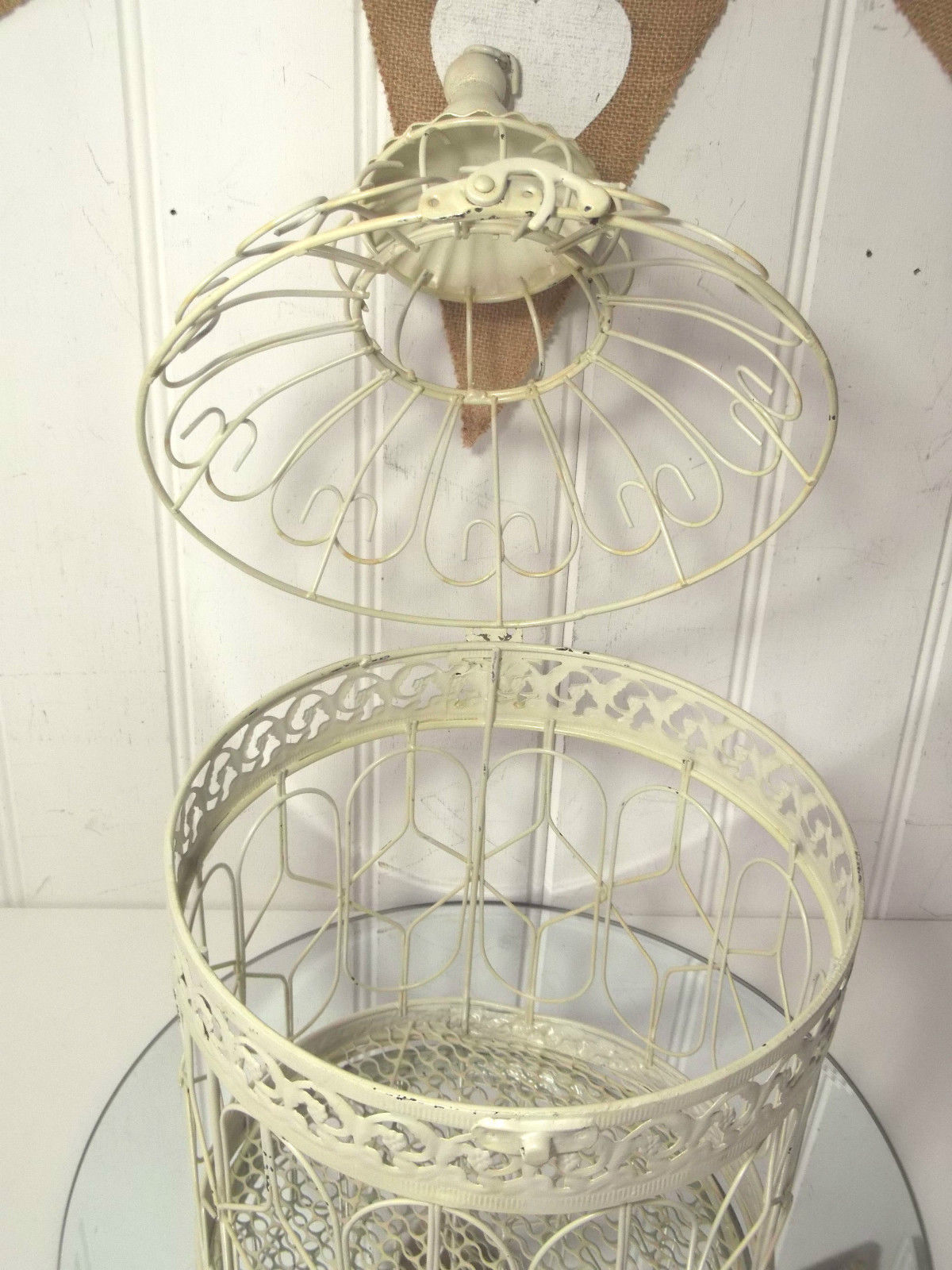 large shabby chic round metal decorative birdcage amazing grace interiors. Black Bedroom Furniture Sets. Home Design Ideas