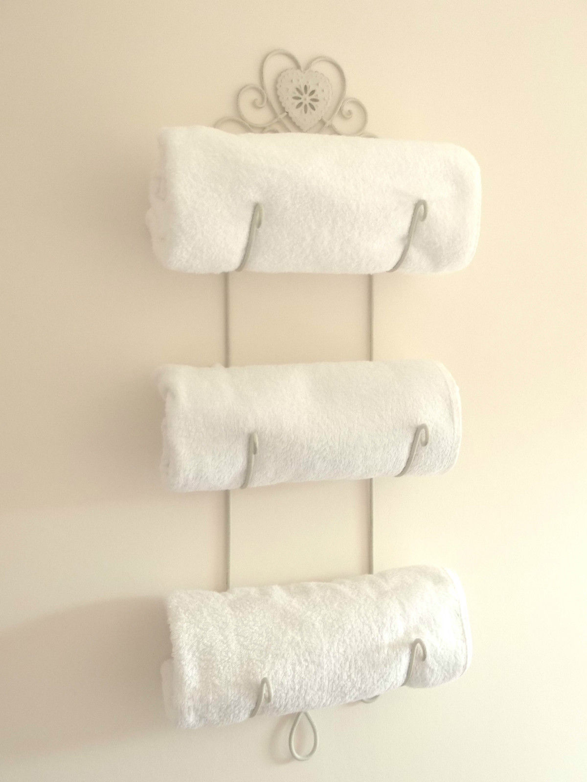 Shabby Chic Heart French Cream Vintage Style Wall Hanging Towel Rail ...