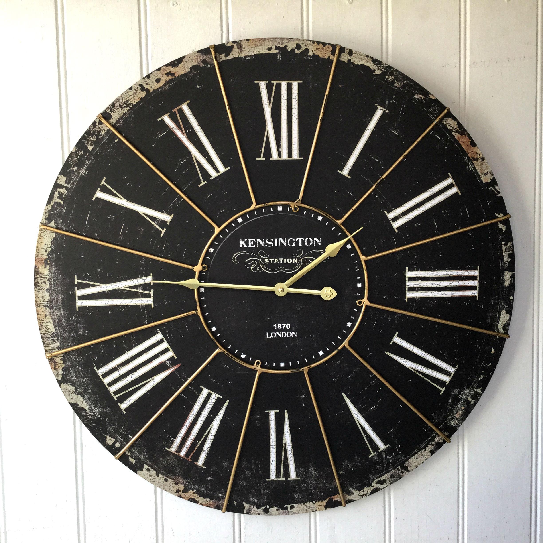 extra large shabby chic kensington station wall clock. Black Bedroom Furniture Sets. Home Design Ideas