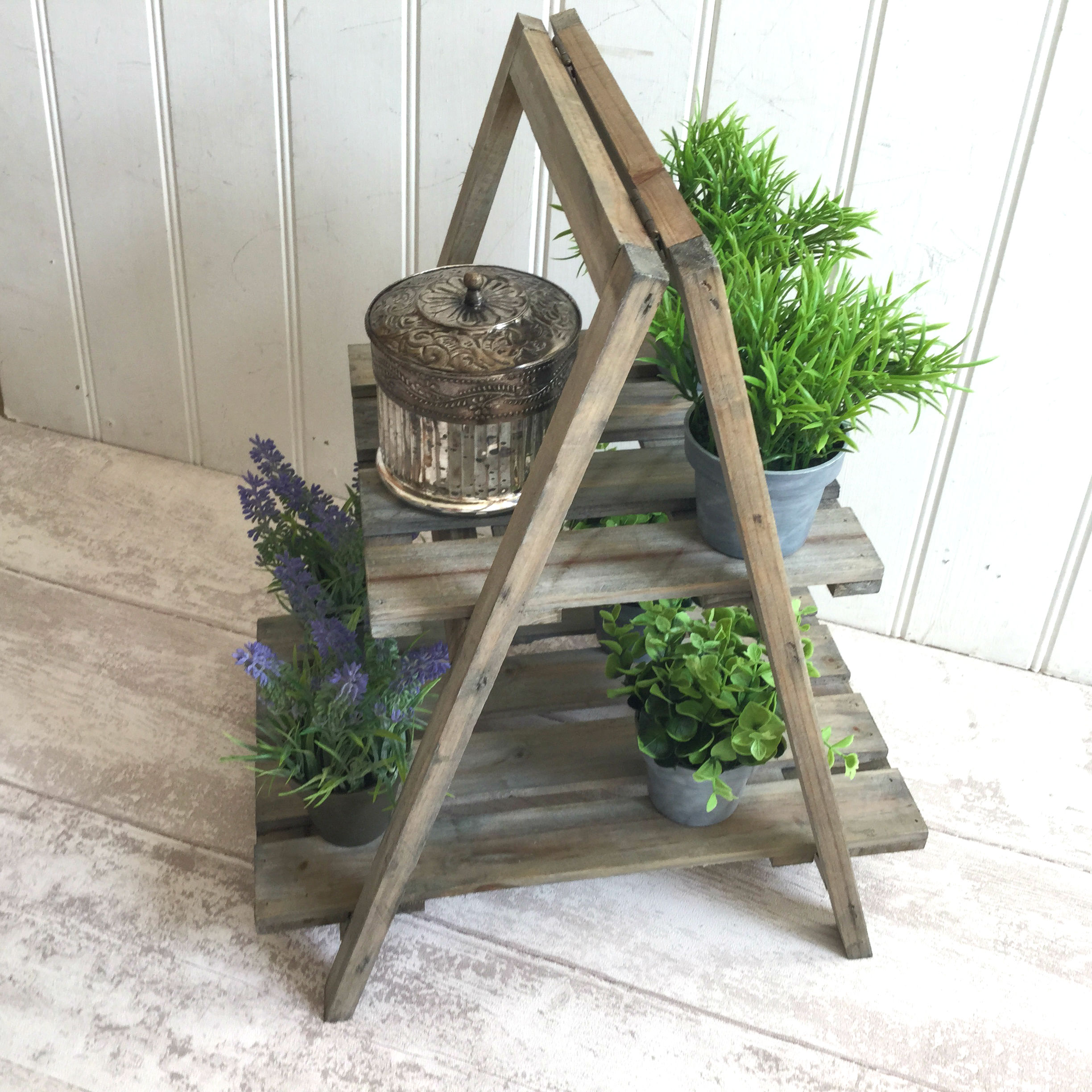 shabby chic rustic wood folding display stand shelf unit. Black Bedroom Furniture Sets. Home Design Ideas