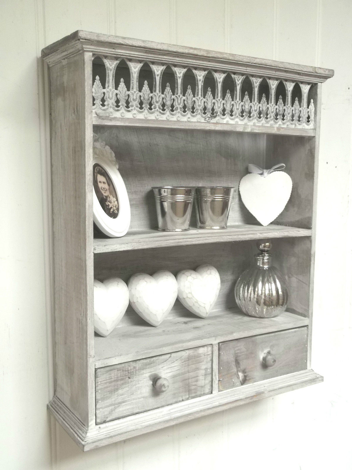 shabby chic wall unit shelf storage cupboard cabinet french vintage style amazing grace interiors. Black Bedroom Furniture Sets. Home Design Ideas