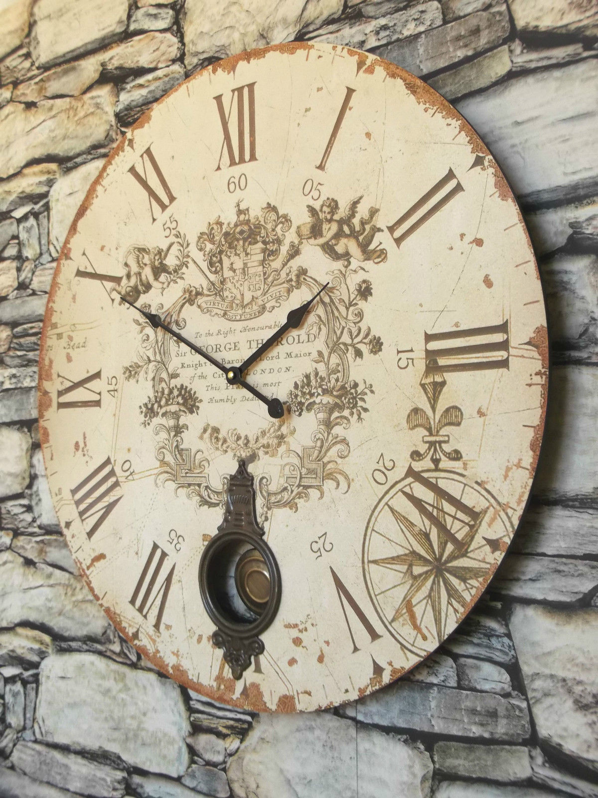 Extra Large Antique French Vintage Style Wall Clock